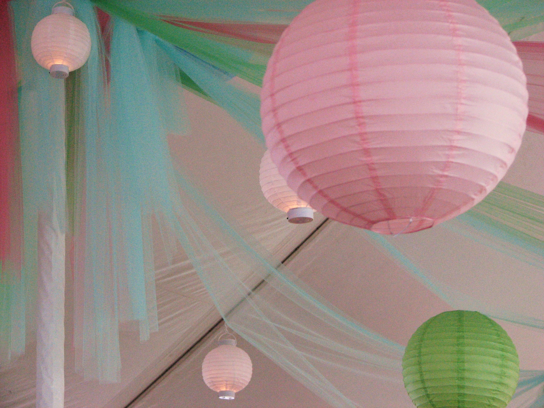 paper lantern and fabric tent decor used at an event at Hamtead Acres